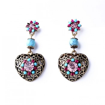 UK Earrings Heart Stud Drop...