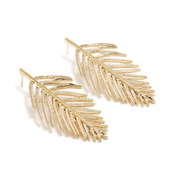 Leaf Drop Earrings Silver...