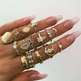 UK New Bohemian Ring Set...