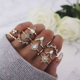 UK New Boho Ring Set Women...