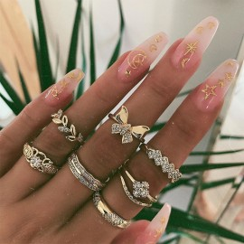 RING Set Boho Knuckle Rings Midi Bow Gold Silver Fashion Thumb Stack UK