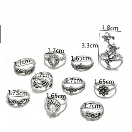 New Bohemian Vintage Women Silver Star Gold Silver Finger Rings Set Punk Ring Gift