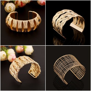 Ladies Hollow Wide Punk Gold Silver Cuff  Bangle Costume Bracelet UK