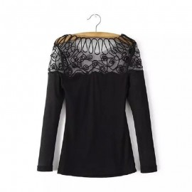 Womens Black Long Sleeve...