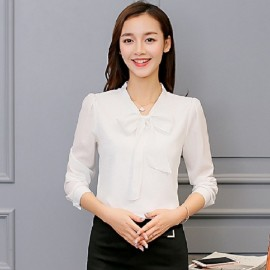 Womens Chiffon White Blouse Top Office Casual Long Sleeve T-Shirt Ladies Tee