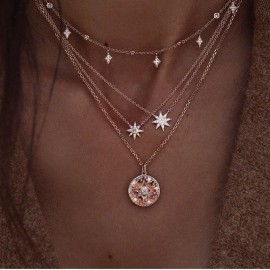 Necklace Double Layer Festival Chain Multilayer Choker Pendant Gold Silver UK