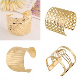 UK Fashion Women Gold Wide Bangle Cuff Jewellery Bracelet